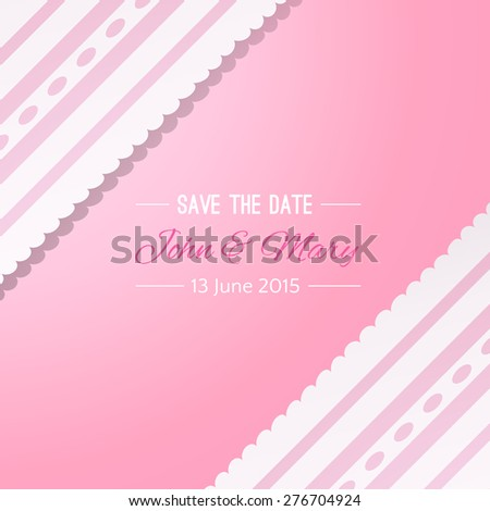 Pink background with vintage realistic pink and white lace. Vector illustration for your lovely design. Abstract holiday picture. Save the date. Invitation for wedding. - stock vector