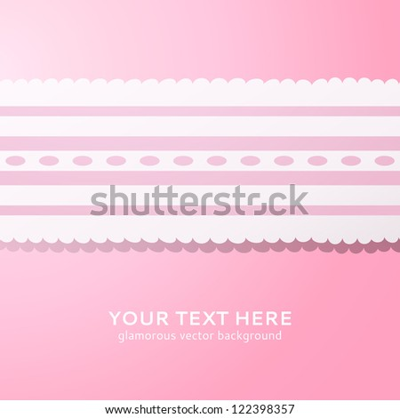 Pink background with vintage white and pink lace. Vector illustration for your cute design.