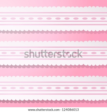 Pink background with vintage white and pink laces. Vector illustration for your cute design. Easy to edit and color change. Romantic and delicate background with simple lovely element.