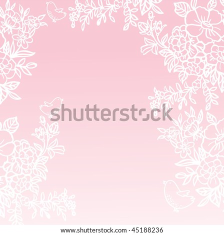 pink background with white flowers and birds
