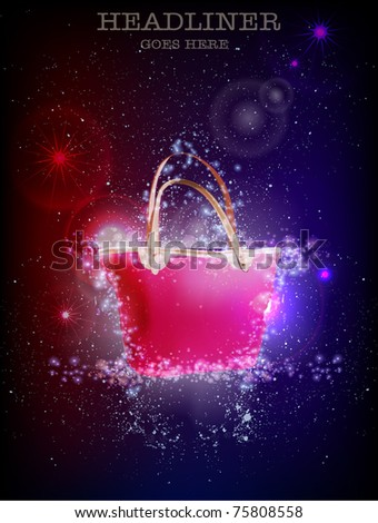 pink bag on the stars background - stock vector