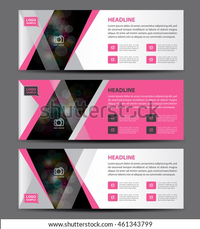 Pink Banner Template Vector Horizontal Banneradvertising Stock - Horizontal brochure template