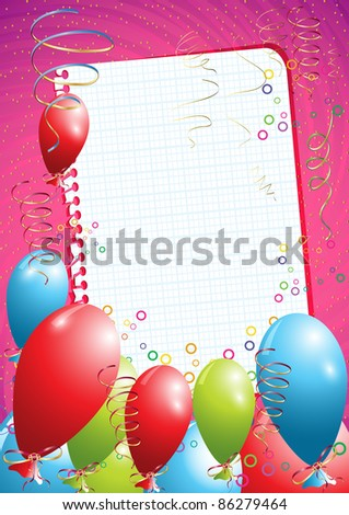 Pink birthday background with balloons and empty paper, eps10 vector illustration - stock vector