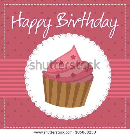 pink birthday card with cup cake. vector illustration