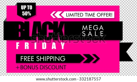Pink black Friday sale banner