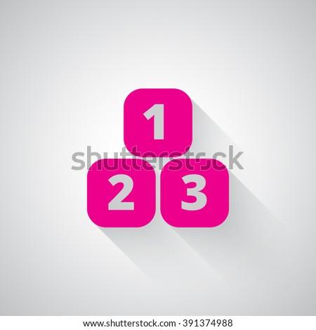 Pink 123 Blocks web icon on light grey background - stock vector