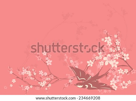pink blossom spring background with swallow and cherry flowers - vector design elements - stock vector