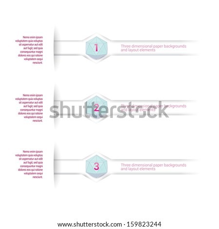 Pink & blue edition of adjustable eps10 vector composition an abstract minimal geometric paper background based list elements with content and menu field for numbering or lettering, for universal use  - stock vector