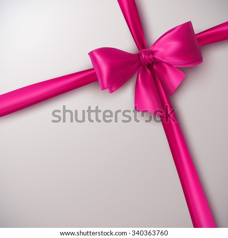 Pink Bow And Ribbon. Vector Holiday Illustration. Decoration Element For Design  - stock vector