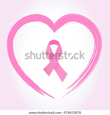 Pink Breast Cancer Awareness Ribbon On Stock Vector 476653876