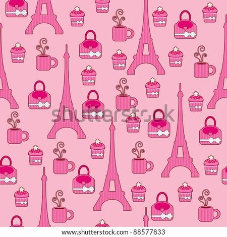 Pink bright wallpaper. Paris - stock vector