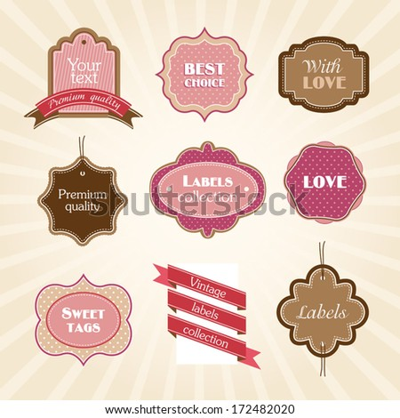 Pink brown cute labels collection
