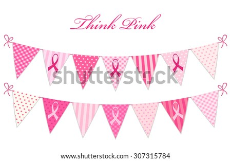 Pink bunting Breast Cancer Awareness with phrase Think Pink and pink ribbons isolated on white background - stock vector