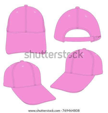 Pink Cap template using for fashion cloth design and assessorie for designer to make mock up or blue print in copany