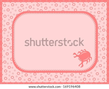 Pink card with crab (vector) - stock vector