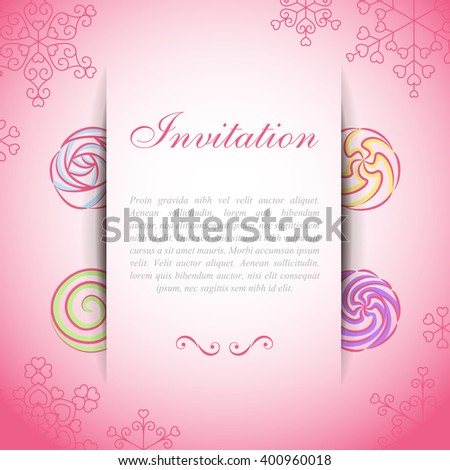 Pink card with paper web over sweet whipped creams - stock vector