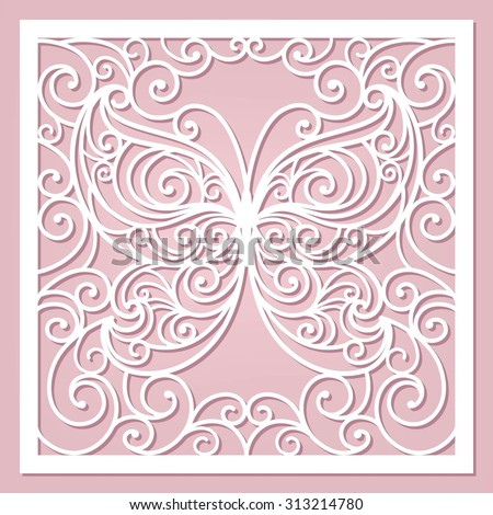 pink card with stylization butterfly - stock vector
