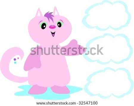 Pink Cat with Cloud Bubbles Vector