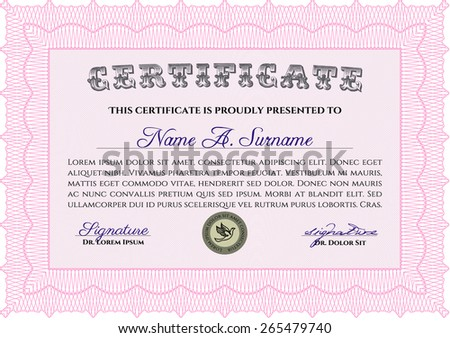 Pink Certificate, Diploma of completion with guilloche pattern and background, border, frame. Certificate of Achievement, Certificate of education, awards, winner.