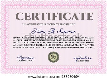 Pink certificate template easy print customizable stock vector pink certificate template easy to print customizable easy to edit and change colors yadclub Image collections