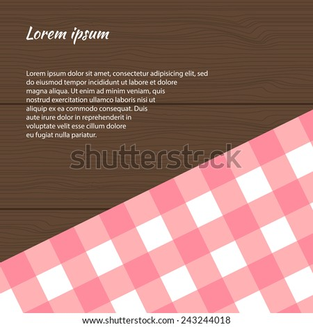 Pink checkered picnic tablecloth on the wooden background. Vector illustration