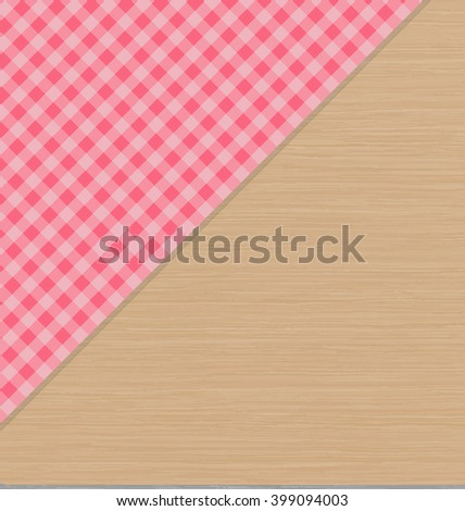 Pink Checkered Tablecloth on Light Brown Wooden Table