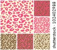 Pink Cheetah Print Seamless Pattern Set. Vector Animal Background - stock vector