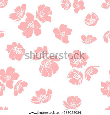 Pink cherry blossom. Lovely seamless pattern for your design. Spring mood background. Vector illustration. - stock vector
