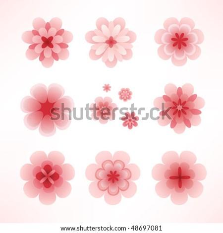 Pink cherry flowers set - stock vector