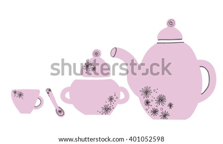 pink children tea set with a floral pattern : teapot, sugar bowl, spoon mug. Hand-drawn vector set in sketch style. - stock vector