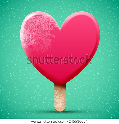 Pink chocolate heart shaped freeze ice cream, realistic bright 3d vector icon