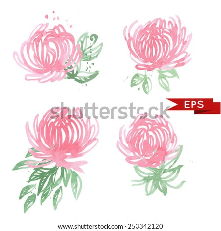 Pink chrysanthemum illustration isolated.  Vector image. - stock vector