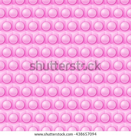Pink cube and sphere pattern, vector tile - stock vector
