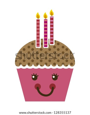 pink cup cake cartoon isolated. vector illustration