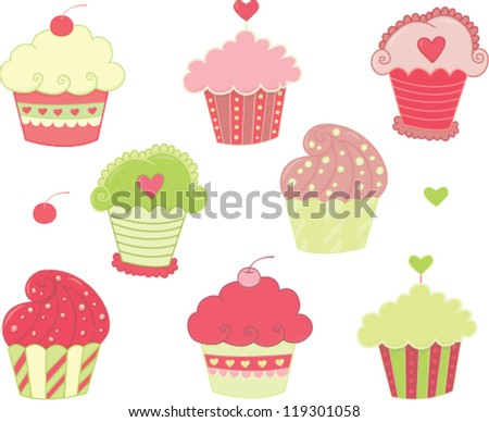 Pink cupcakes - stock vector