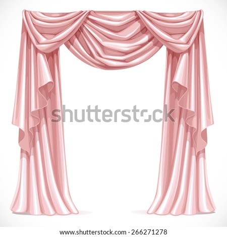 Pink curtain draped with lambrequins isolated on a white background - stock vector