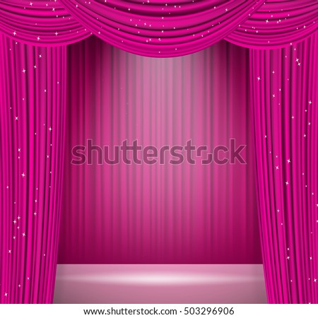 pink curtains background spotlight on stage stock vector