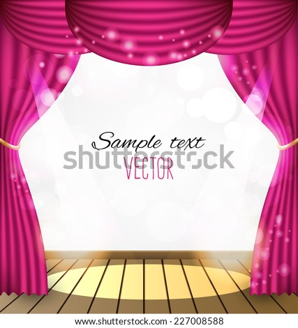 Pink curtains vector background - stock vector