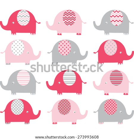 Pink Cute Elephant Collections - stock vector