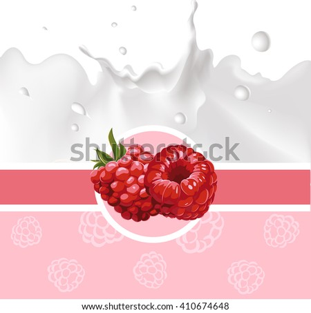 pink design with raspberry and milk splash - vector illustration