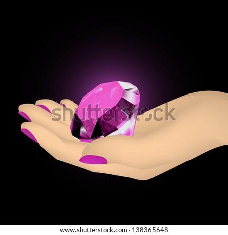 Pink diamond in the hands of women. Vector - stock vector