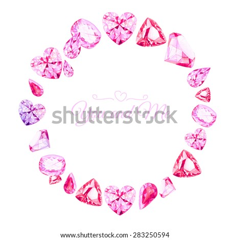 Pink diamonds watercolor round vector design frame. All elements are isolated and editable. - stock vector