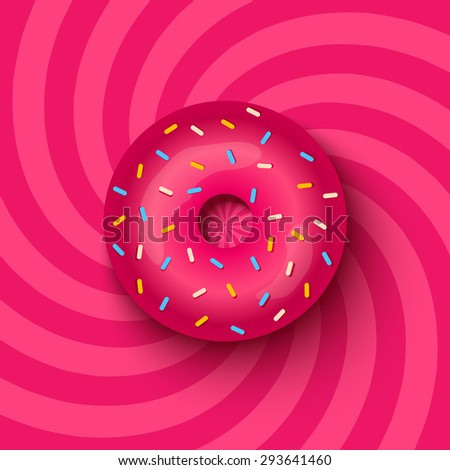 pink donut on swirl background - stock vector