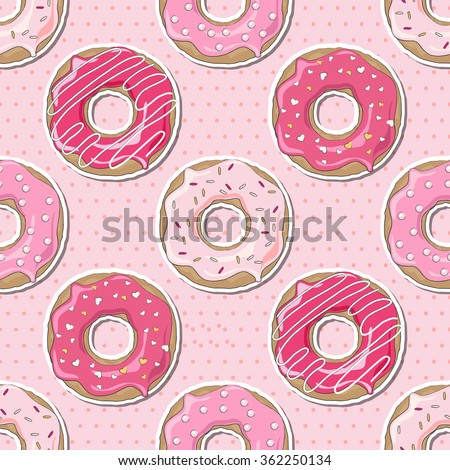 Pink donuts, decorated for Valentine's Day, over a pink polka dot seamless background. EPS10 vector format - stock vector