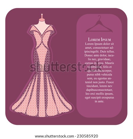 Pink dress on mannequin - stock vector