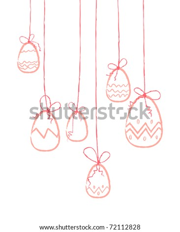 Pink eggs hanging on threads - stock vector