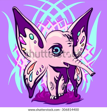 Pink elephant with ears - wings happily looking at the world with his universe - stock vector