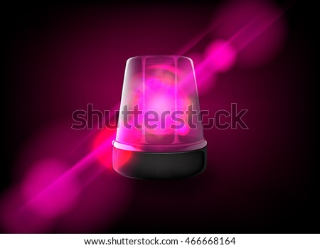 Pink emergency flashing lady siren. Vector