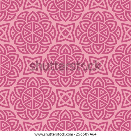 Pink ethnic pattern / Ethnic pattern of circular elements. Seamless structure.
