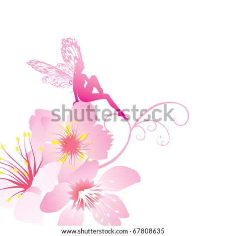 pink fairy on the flowers vector - stock vector